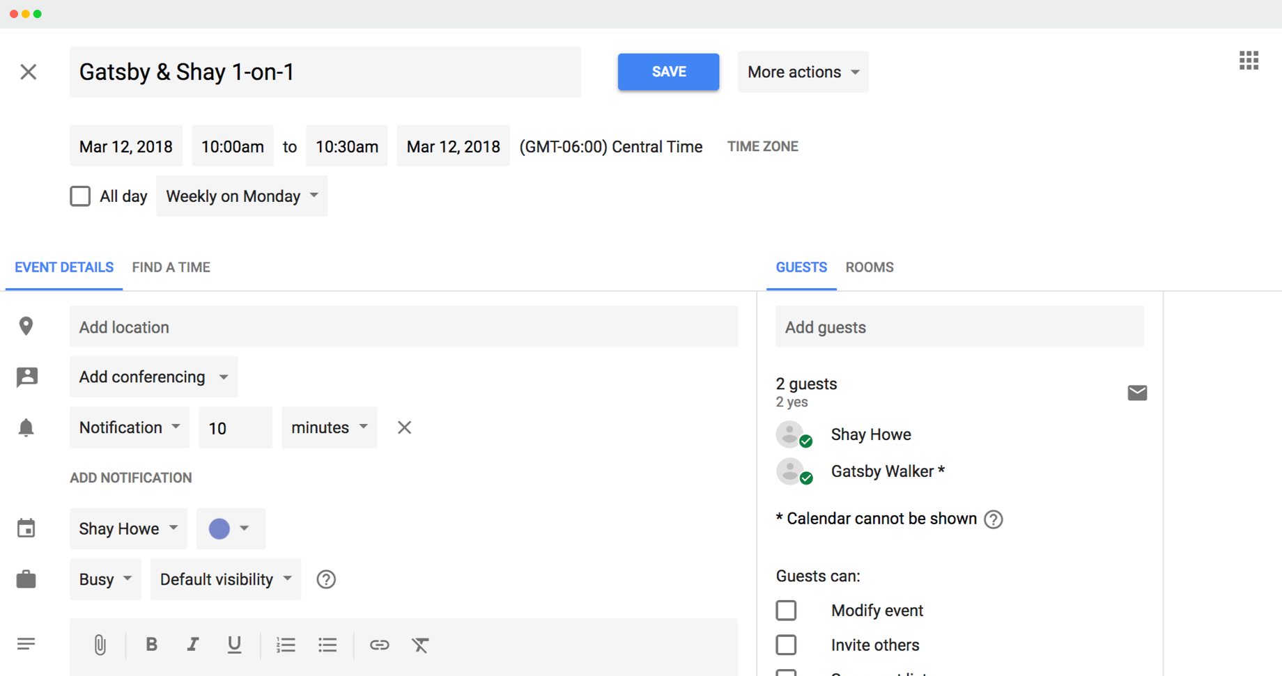 Google Calendar invite created by Lead Honestly